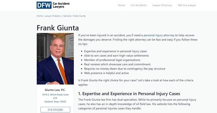 Attorney Frank Giunta DFW Car Accidents