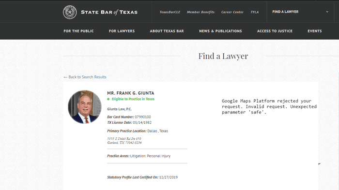 State Bar of Texas Attorney Frank Giunta