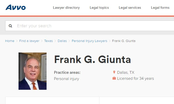 Attorney Frank Giunta profile at Avvo
