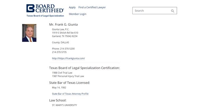 Board Certified Attorney Frank Giunta