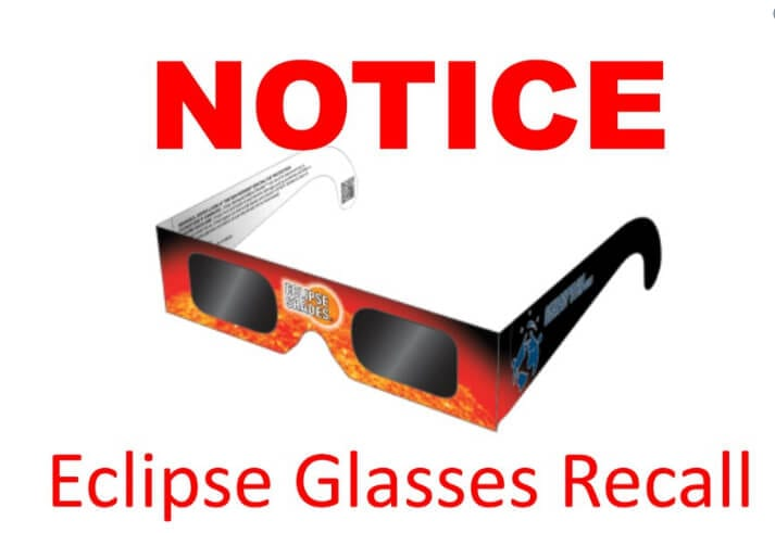 eclispse glasses recall product liablity