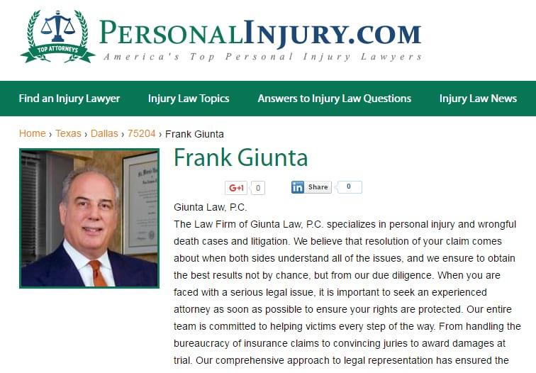Attorney Frank Giunta profile at Personalnjury.com