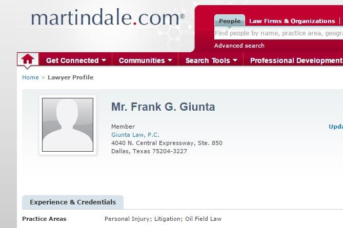 Attorney Frank Giunta profile at Martindale