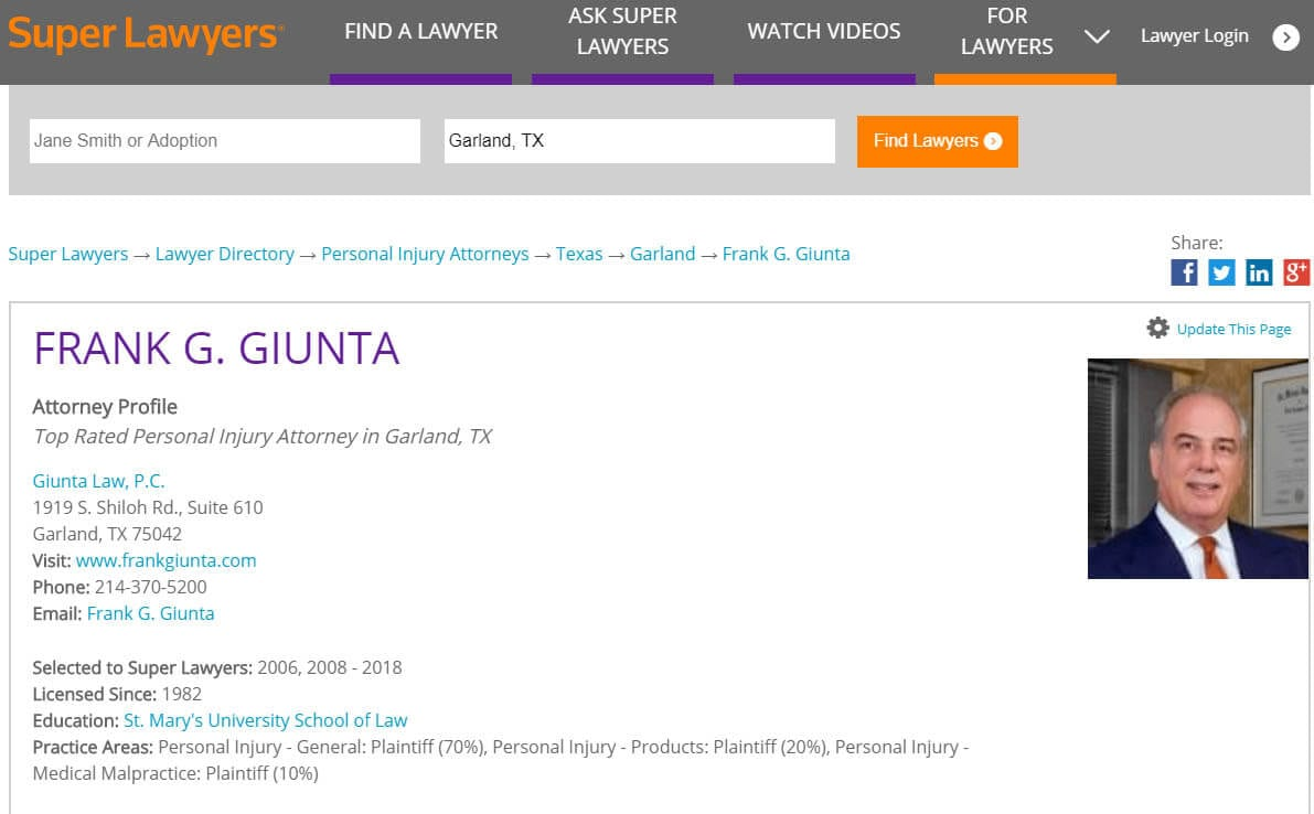 Attorney Frank Giunta profile at Super Laywers